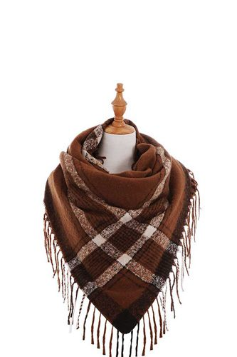 Trendy color block check square scarf with fringe-id.cc40240