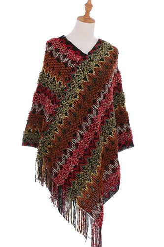 Knitted multi color fringe cape poncho-id.cc40241