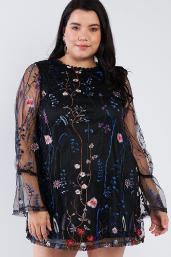 Plus size floral mix sheer mock lace neck mini dress-id.cc40248a