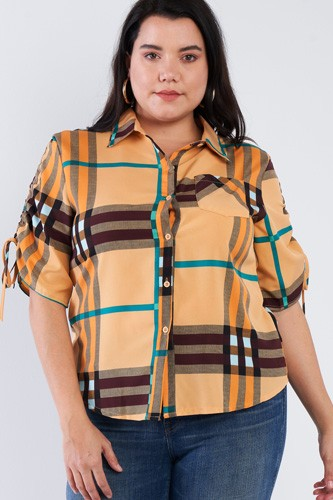Plus size plaid multi stripe cinched sleeve button down top-id.cc40256a