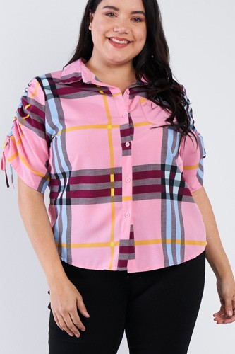 Plus size plaid multi stripe cinched sleeve button down top-id.cc40256b