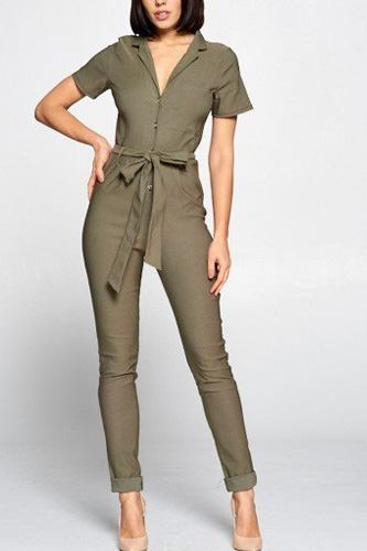 Short sleeve jumpsuit with a notched collar neckline ,button down front, pocket detail finished off with a self tie belt -id.cc40258