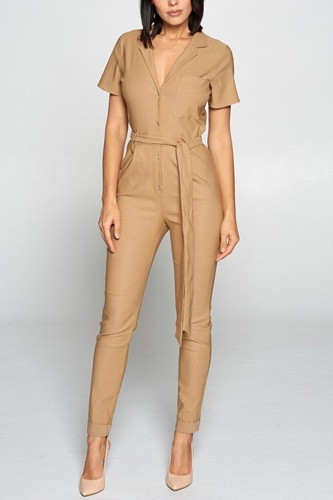 Short sleeve jumpsuit with a notched collar neckline ,button down front, pocket detail finished off with a self tie belt -id.cc40258a