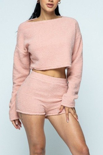 Poodle knit drop shoulder long sleeve cropped top with high waist shorts set-id.cc40265a
