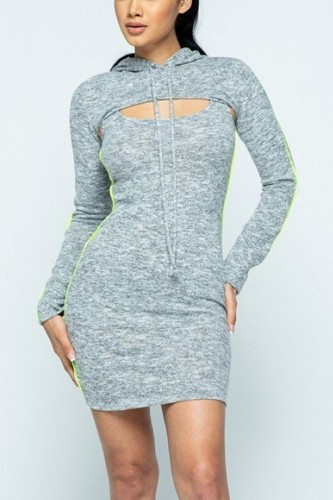 Brushed hacci side piping detail hoodie and tank top dress set-id.cc40266