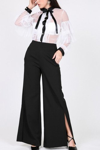 Side slit detail wide leg pants-id.cc40268b