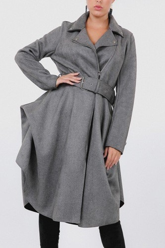 Waist belt tacked faux suede coat-id.cc40271a