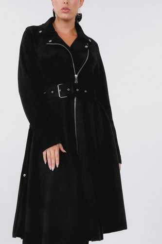 Waist belt tacked faux suede coat-id.cc40271b