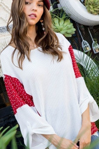 Round neck 3/4 rolled up sleeve contrast woven heart print knit top-id.cc40277