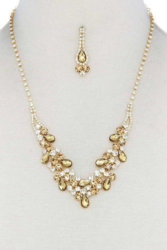 Teardrop shape rhinestone necklace-id.cc40283