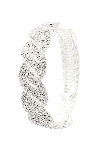 Twisted flexible rhinestone bracelet-id.cc40295