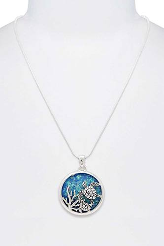 Stylish sea turtle circle pendant necklace-id.cc40299
