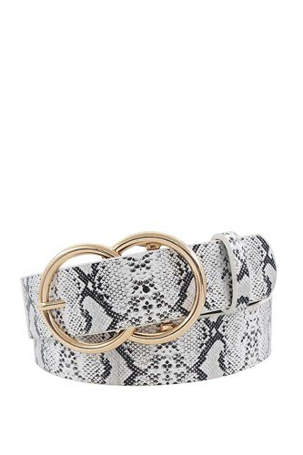 Hot trendy python pattern double ring buckle belt-id.cc40310