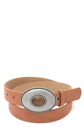 Oval shape metal buckle pu leather belt-id.cc40311