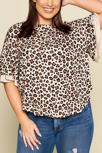 Plus size animal print swing tunic top with contrast color block bell sleeves-id.cc40322