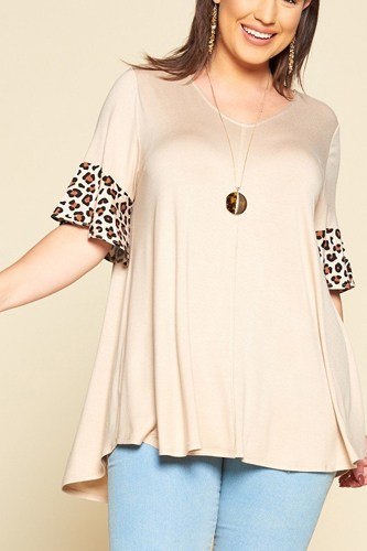 Plus size solid jersey swing tunic top-id.cc40323