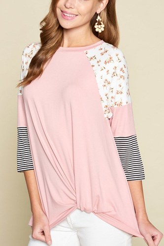 Plus size floral and striped color block sleeves tunic top with side twist-id.cc40324