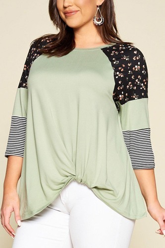 Plus size floral and striped color block sleeves tunic top with side twist-id.cc40324a