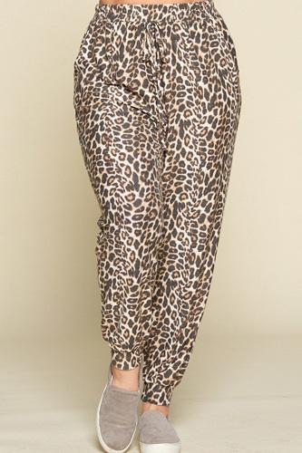Plus size cute animal printed french terry jogger pants-id.cc40325