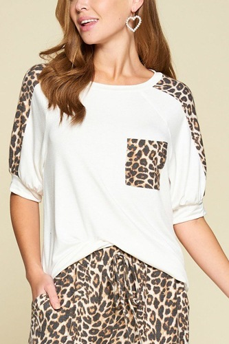 Plus size cute animal print pocket french terry casual top-id.cc40326a