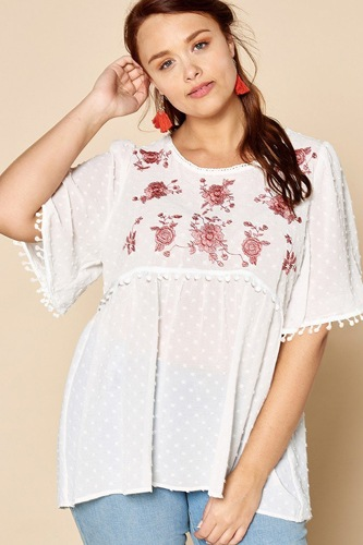 Lace trimmed bubble chiffon blouse-id.cc40327