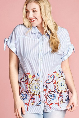 Striped buttoned down collared blouse-id.cc40329
