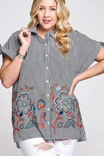 Striped buttoned down collared blouse-id.cc40329a