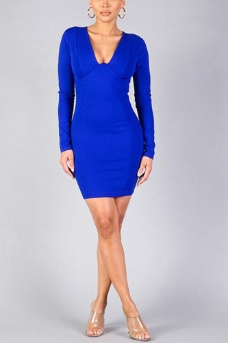 Sexy long sleeve underwire bodycon mini dress-id.cc40332