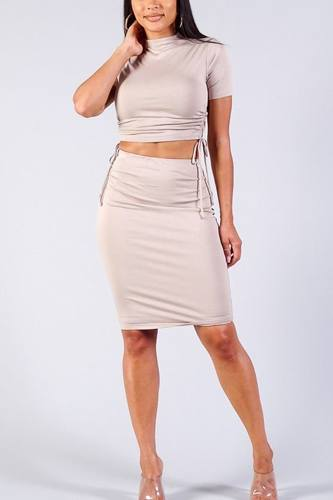 High neck short sleeve ruched tee & high-waisted midi skirt set-id.cc40335b