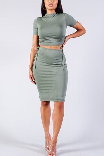 High neck short sleeve ruched tee & high-waisted midi skirt set-id.cc40335c