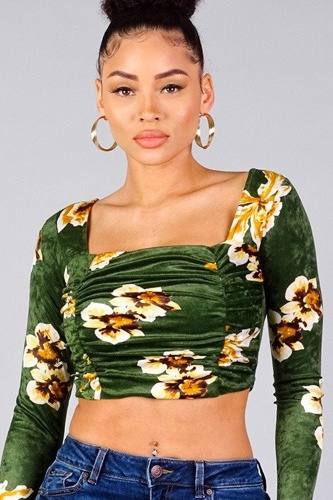 Ruched velvet floral back tie crop top-id.cc40336b
