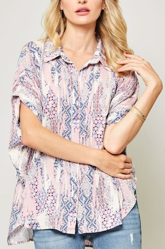Ornately patterned woven top-id.cc40337