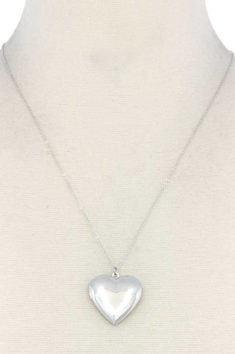 Puffy metal heart locket necklace-id.cc40348
