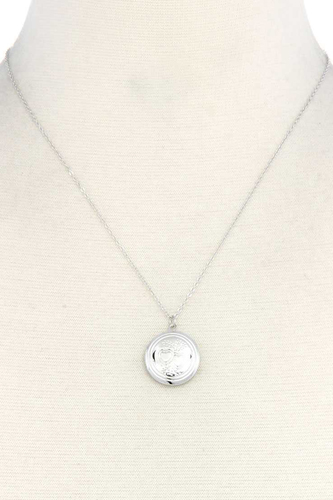 Circle locket metal necklace-id.cc40350