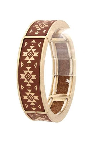 Aztec pattern metal stretch bracelet-id.cc40357