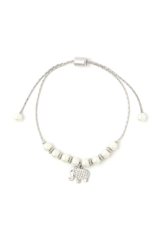 Elephant charm beaded adjustable bracelet-id.cc40358