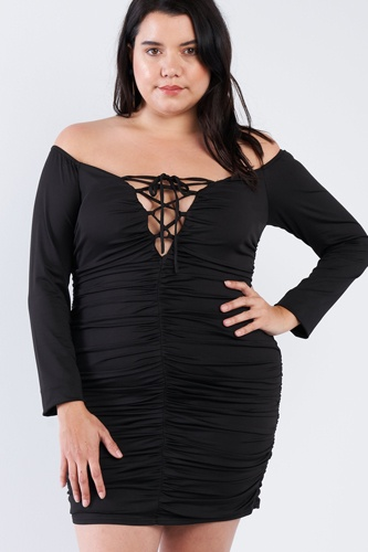 Plus size off the shoulder lace up ruched mini dress-id.cc40378