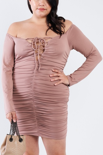 Plus size off the shoulder lace up ruched mini dress-id.cc40378a