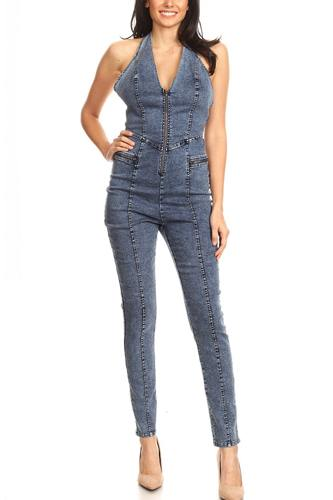 Fitted denim jumpsuit with halter neck, low back, and zipper detail-id.cc40393