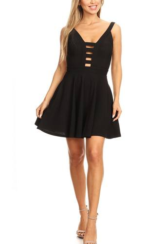 Solid fit and flare dress with back zipper closure, cutouts, and spaghetti straps-id.cc40395