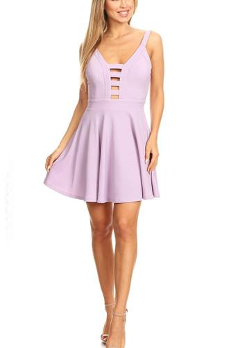 Solid fit and flare dress with back zipper closure, cutouts, and spaghetti straps-id.cc40395b