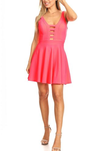 Solid fit and flare dress with back zipper closure, cutouts, and spaghetti straps-id.cc40395d