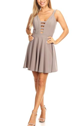Solid fit and flare dress with back zipper closure, cutouts, and spaghetti straps-id.cc40395e
