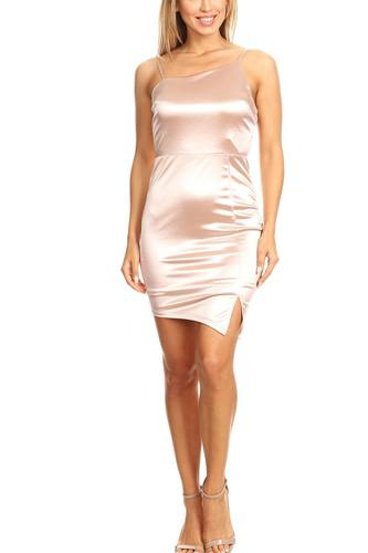 Solid mini dress with bodycon fit, side slit, and spaghetti straps-id.cc40396a