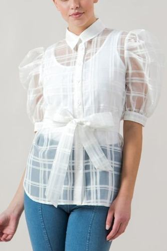 A see-thru mini length organza top-id.cc40402