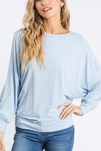 Dolman long sleeve ribbed top with banded hem-id.cc40407