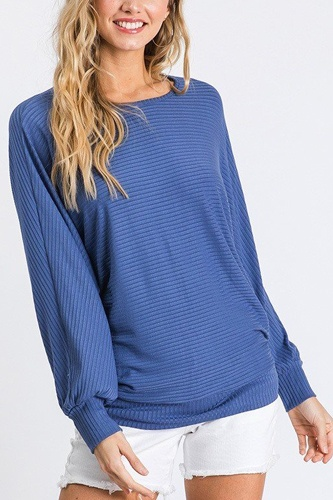 Dolman long sleeve ribbed top with banded hem-id.cc40407a