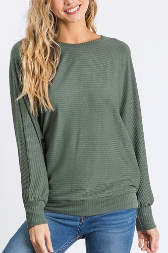 Dolman long sleeve ribbed top with banded hem-id.cc40407c