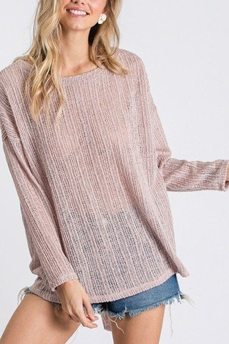 Open back detail long sleeve top with self tie-id.cc40409