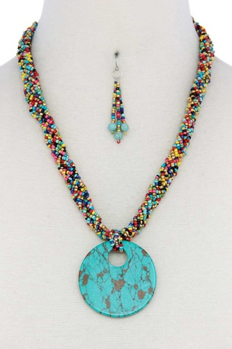Faux stone pendant seed bead necklace-id.cc40413